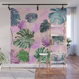 Tropical Leves on Pink Wall Mural