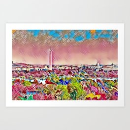 Washington, D.C., Capital Hill Mosaic Skyline landscape Art Print