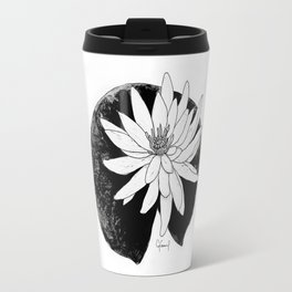 BLACK & WHITE WATER LILY FLOWER ILLUSTRATION Travel Mug
