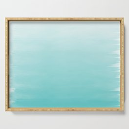 Modern teal watercolor gradient ombre brushstrokes pattern Serving Tray