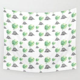 Dreaming Puppy - Green Watercolor Wall Tapestry