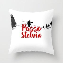 Ski at Passo Stelvio Throw Pillow