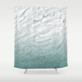 Calacatta Verde glitter gradient Shower Curtain