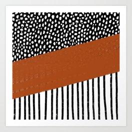 Polka Dots and Stripes Pattern (black/white/burnt orange) Art Print