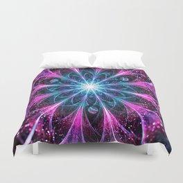 Winter violet glittered Snowflake or flower Background Duvet Cover