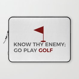 Know Thy Enemy Play Golf Strategy Laptop Sleeve