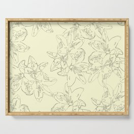 yellow line art floral pattern Serving Tray