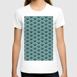 Japanese Waves Seigaiha Teal T-shirt