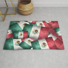 Grunge-Style Mexican Flag Rug
