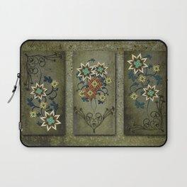 Floral Triptych Digital Floral Art Wall Decor Laptop Sleeve