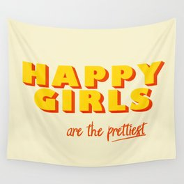 Happy Girls - typography Wall Tapestry