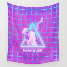 Vaporwave Glitch Statue Wall Tapestry