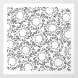 Abstract geometrical black white hand painted mandala Art Print
