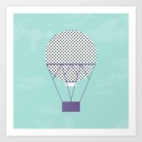 hot air balloon Art Prints featuring PURPLE HOT AIR BALLOON by Allyson Johnson
