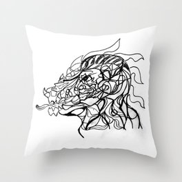 Dragon and human head Throw Pillow