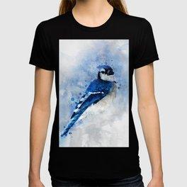 Watercolour blue jay bird T-shirt