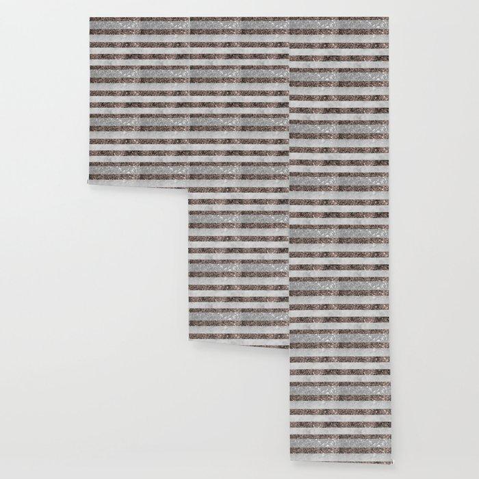 White Marble Rose Gold Glitter Stripe Glam #2 #minimal #decor #art #society6 Wallpaper