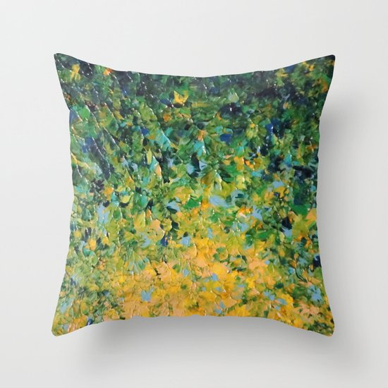 IRISH SUNRISE - Beautiful BOLD Lime Kelly Forest Green Sunrise Sunset Abstract Nature Painting Throw Pillow