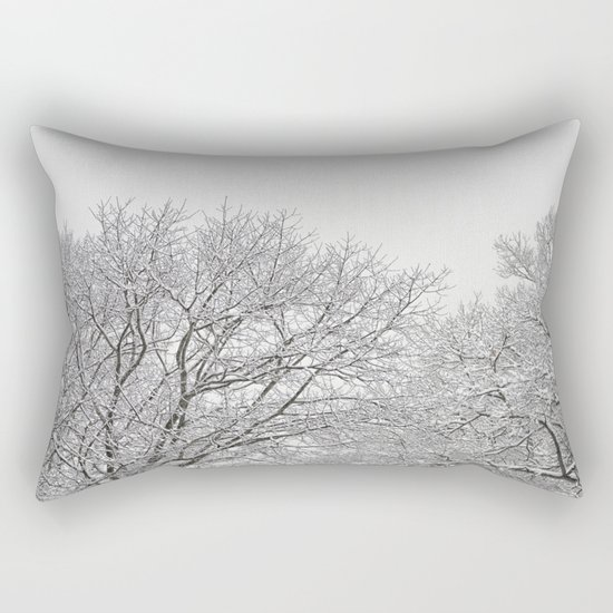 Snow covered tree tops Rectangular Pillow