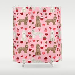 Labradoodle Valentines Day Cupcakes Hearts Dog Breed Pet Pattern  Labradoodles Shower Curtain