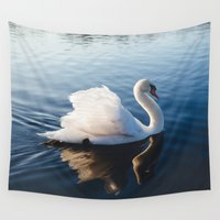 swan Wall Tapestries featuring Swan by 1705 Photography