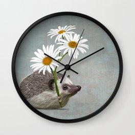 Hedgehog in love Wall Clock