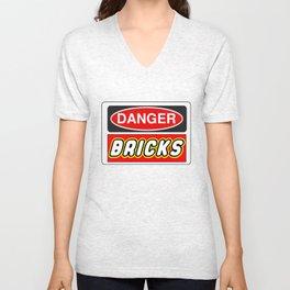 Danger Bricks Sign by Chillee Wilson Unisex V-Neck