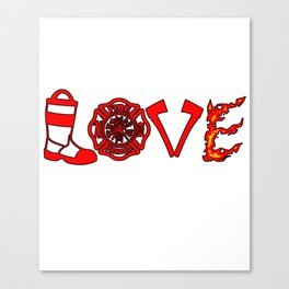 Firefighter Love Fire Ax Boots Extinguisher Gift Canvas Print