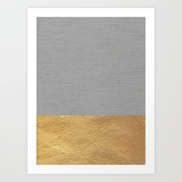Color Blocked Gold & Grey Art Print