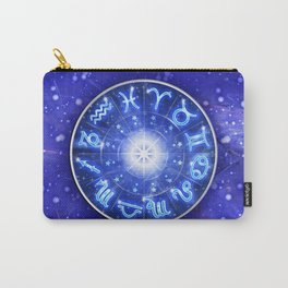 Zodiac Signs Blue Galaxy Circle Carry-All Pouch