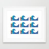 hokusai Framed Art Prints featuring Hokusai Rainbow_Bs by FACTORIE