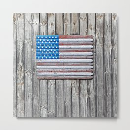 Faded Wooden Flag Metal Print