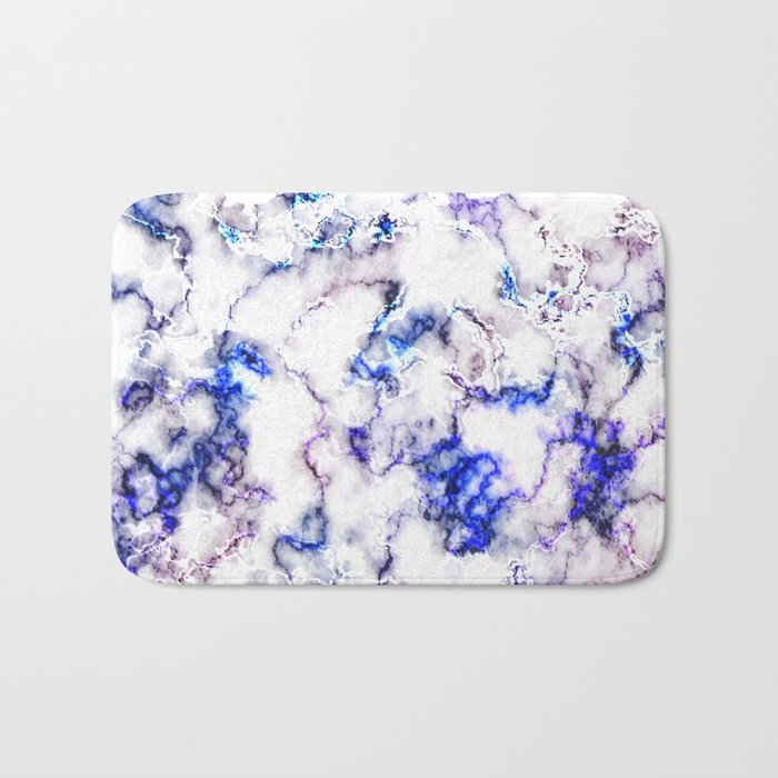 Blue and Pink Veined Marble Bath Mat