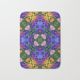 Floral Spectacular: Blue, Plum and Gold - repeating pattern, diamond, Olbrich Botanical Gardens, Mad Bath Mat
