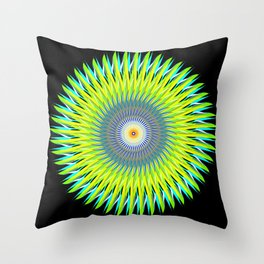 Green Machine Spiral Art Design Throw Pillow