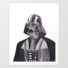 Darth Vader [Grayscale on White] Pencil Art Print
