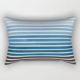 Watercolor Gouache Mid Century Modern Minimalist Colorful Green Blue Stripes Rectangular Pillow