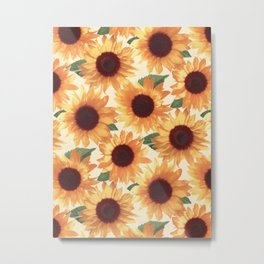 Happy Orange Sunflowers Metal Print