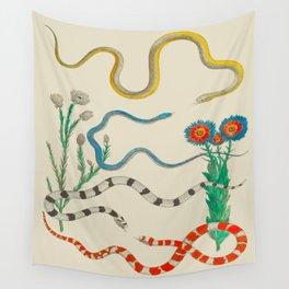 Locupletissimi rerum naturalium - vol. 2 - Albertus Seba Colorful Snake Floral Arrangement Wall Tapestry