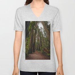 Redwood Forest Adventure VII - Nature Photography Unisex V-Neck