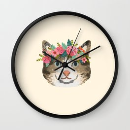 Cat tabby floral crown cute gifts for cat lovers Wall Clock