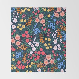 Vintage floral background. Flowers pattern with small colorful flowers on a dark blue background.  Throw Blanket