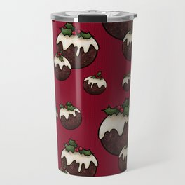 Christmas Pudding Feast with Holly and Berries, Red Travel Mug