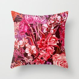 lush lipstick colored tropical floral Throw Pillow