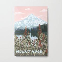 Mount Hood National Park Poster, Portland Oregon, Pacific Northwest, Vintage Retro Travel Poster Metal Print