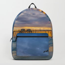 Cloudy Sunset at Huntington Beach Pier Backpack