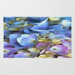 Blue and Pink Hydrangea Flowers  Rug