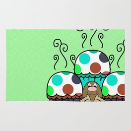 Cute Monster With Cyan And Blue Polkadot Cupcakes Rug