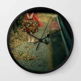 Girl with Suitcase Through Rearview Mirror Wall Clock