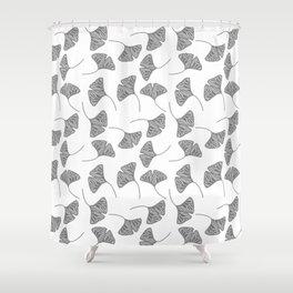 Ginkgo Leaves White & Black Design Pattern Shower Curtain